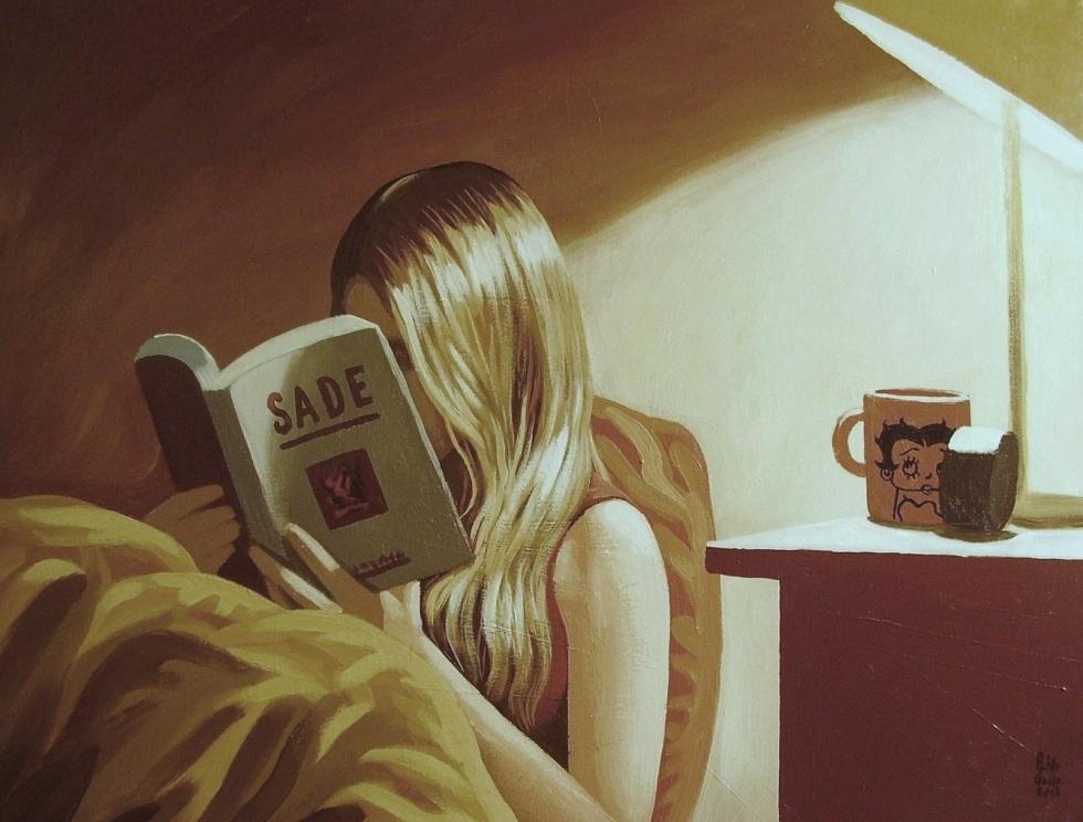 La chica que no podía dejar de leer a Sade (50 x 65 cm, acrílico sobre lienzo, Pablo Gallo, 2012)
